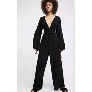 Free People Black True Love Linen Jumpsuit